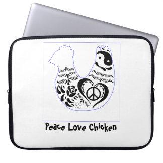 Galinha do amor da paz bolsas e capas de notebook