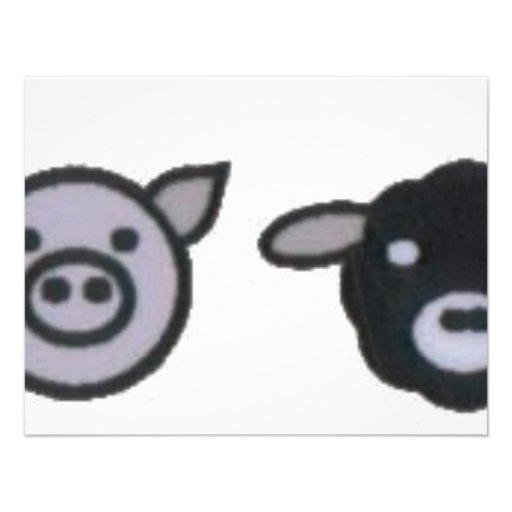 galinha dos carneiros do porco da vaca convite personalizado