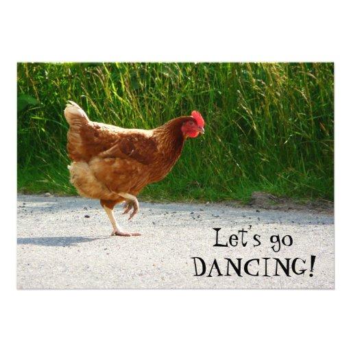 Galinha Funky - deixe-nos ir dançar! Convite Personalizados