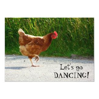 Galinha Funky - deixe-nos ir dançar! Convite 12.7 X 17.78cm