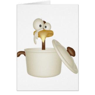 Galinha no cartão da sopa