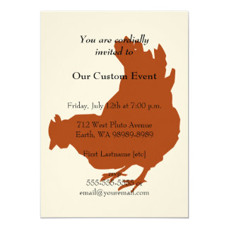 Galinha vermelha da galinha convite 12.7 x 17.78cm
