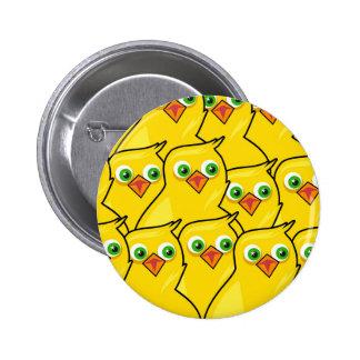 Galinhas amarelas brilhantes bonitas da páscoa bóton redondo 5.08cm