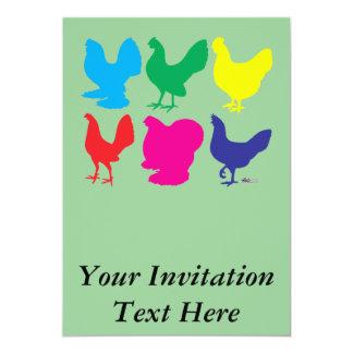 Galinhas coloridas convite 12.7 x 17.78cm