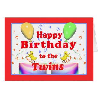 Galinhas do feliz aniversario para gêmeos cartão comemorativo