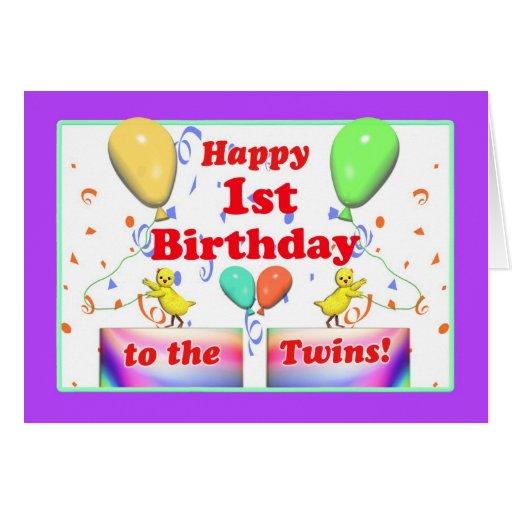 Galinhas felizes do primeiro aniversario para gême cartão