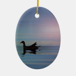 Gallinule liso ornamento de cerâmica oval