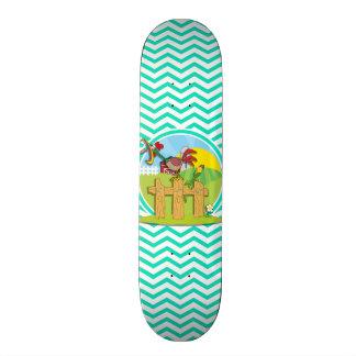 Galo; Aqua Chevron verde Skates Personalizados