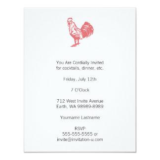 Galo do vermelho do estilo da tipografia convite 10.79 x 13.97cm