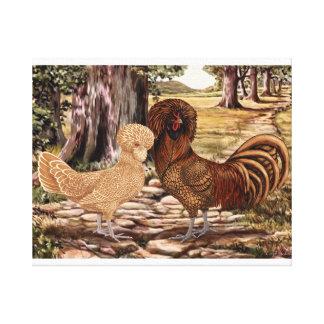 Galo e galinha poloneses em ajuste arborizado impressão em tela