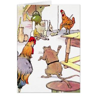 Galo, rato & galinha na cozinha cartões
