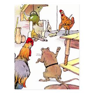 Galo, rato & galinha na cozinha cartão postal