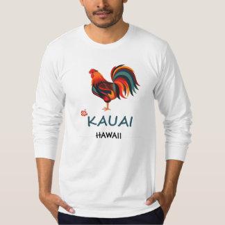 Galo selvagem de Kauai do t-shirt havaiano longo