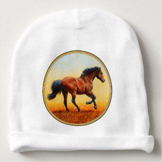 Galope do cavalo de baía gorro para bebê