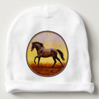 Galope escuro do cavalo do garanhão da baía gorro para bebê