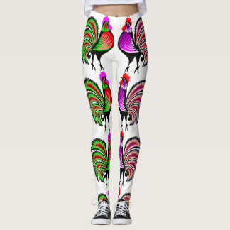 Galos coloridos da arte popular leggings