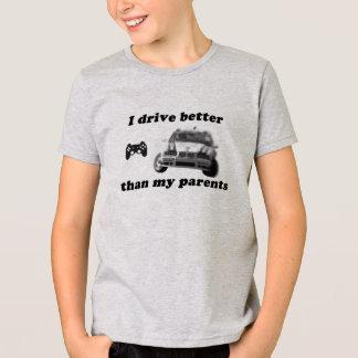 Gamer, camisa borrada das corridas de carros para