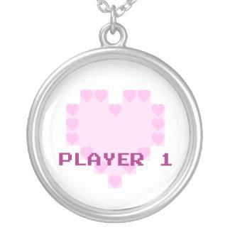 Gamers no amor - jogador 1 colar banhado a prata