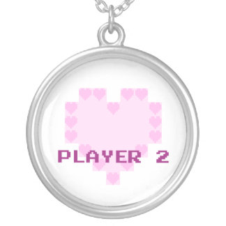 Gamers no amor - jogador 2 colar banhado a prata