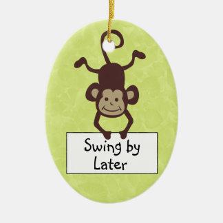 Gancho de porta engraçado do macaco ornamento de cerâmica oval