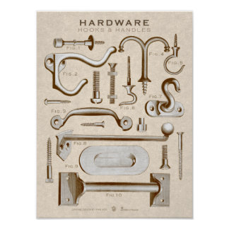 Gancho-Punhos AntiqueSepia do poster do hardware
