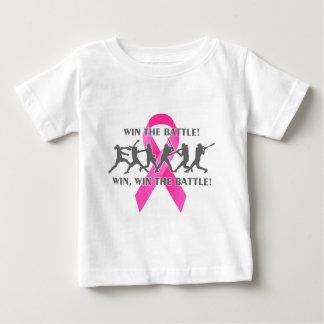 Ganhe a fita do rosa do cancro da mama do softball camiseta para bebê