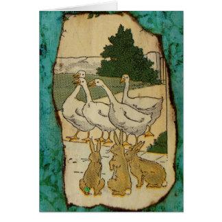 Gansos e coelhos cartão comemorativo