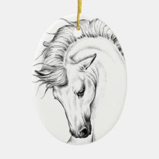 Garanhão delicado ornamento de cerâmica oval