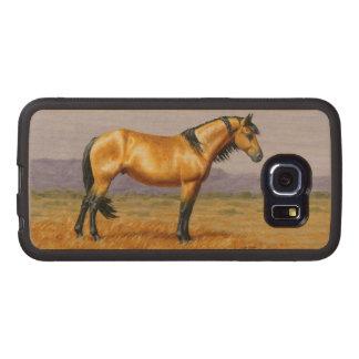 Garanhão do mustang do cavalo selvagem de Bucksin Capa De Madeira Para Telefone