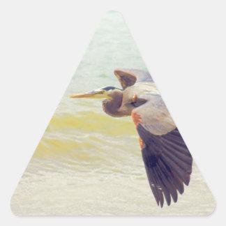 Garça-real de grande azul adesivo triangular