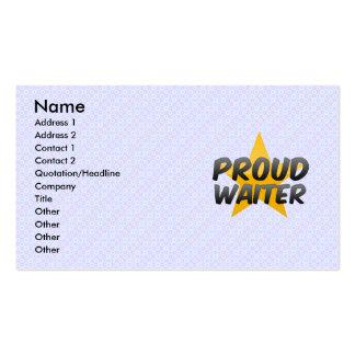 Garçom orgulhoso modelo cartões de visitas