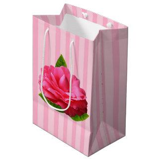 Gardenia cor-de-rosa sacola para presentes média