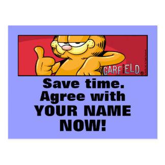 Garfield Logobox concorda comigo cartão Cartoes Postais