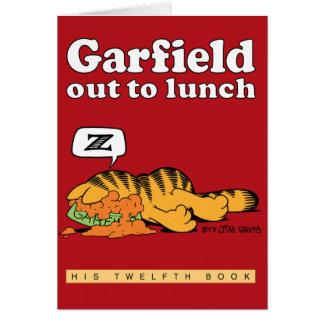 Garfield para fora a almoçar cartão de nota