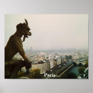 Gárgula sobre a cidade, poster de Paris Pôster