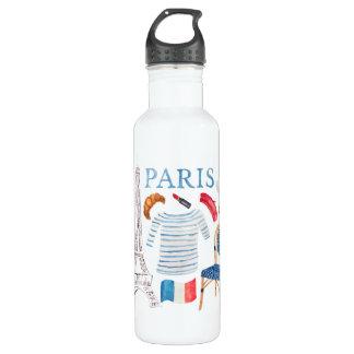 Garrafa A aguarela francesa de Paris Doodles Waterbottle