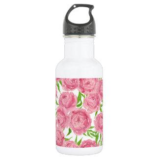 Garrafa Aguarela cor-de-rosa das peônias