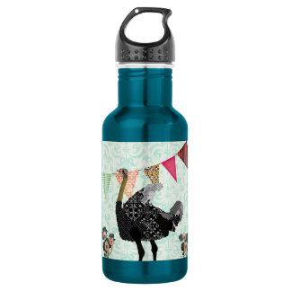 Garrafa azul da liberdade do damasco da avestruz