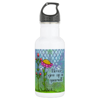 Garrafa Bot positivo adorável da água da flor do Doodle do