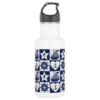 Garrafa Branco náutico dos azuis marinhos checkered