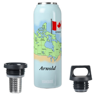 Garrafa canadense da liberdade do mapa e da