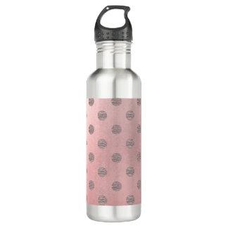 Garrafa Chique moderno das bolinhas Glam cor-de-rosa do