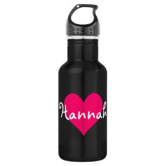 Garrafa Coração cor-de-rosa eu amo Hannah