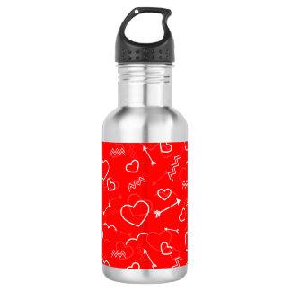 Garrafa Coração e seta brancos vermelhos do amor dos