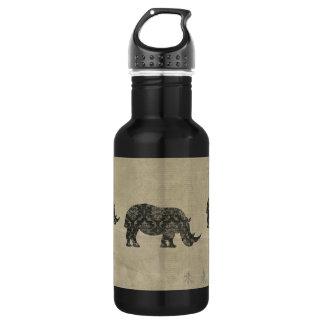 Garrafa da liberdade da silhueta dos rinocerontes