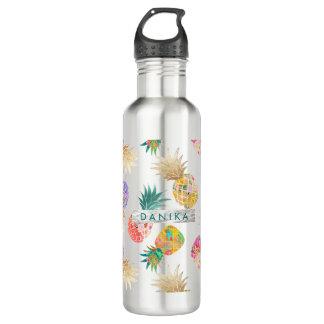 Garrafa D'água Abacaxi de PixDezines Aloha+Aguarela floral