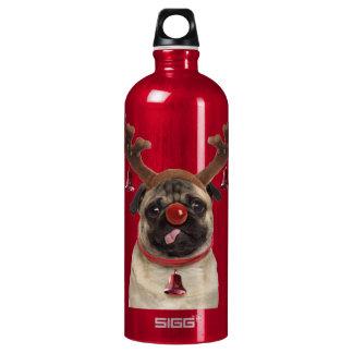 Garrafa D'água Antlers do Pug - pug do Natal - Feliz Natal