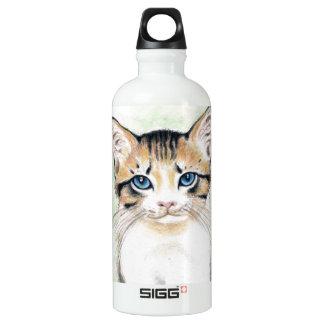 Garrafa D'água Arte bonito da aguarela do gato malhado