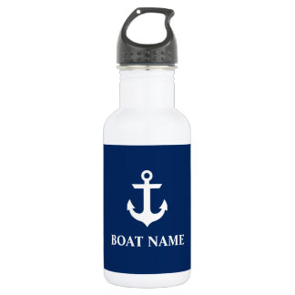 Garrafa D'água Azuis marinhos náuticos da âncora do nome do barco