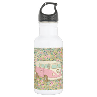 Garrafa D'água Brilho do ouro de Aguarela Hippy Van Cor-de-rosa